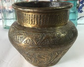 Beautiful vintage brass Egyptian design hammered vase. Pyramids, trees, sphinx, cat, fish, Judaica, desert oasis. Planter houseplants