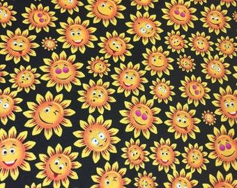 ca15ff054c Cotton fabric - Trippin' Flowers. Sunflowers. Happy faces. Silly smiles.  Tongues. 18x22. Fat quarter. Black background. Designed by Avlyn.