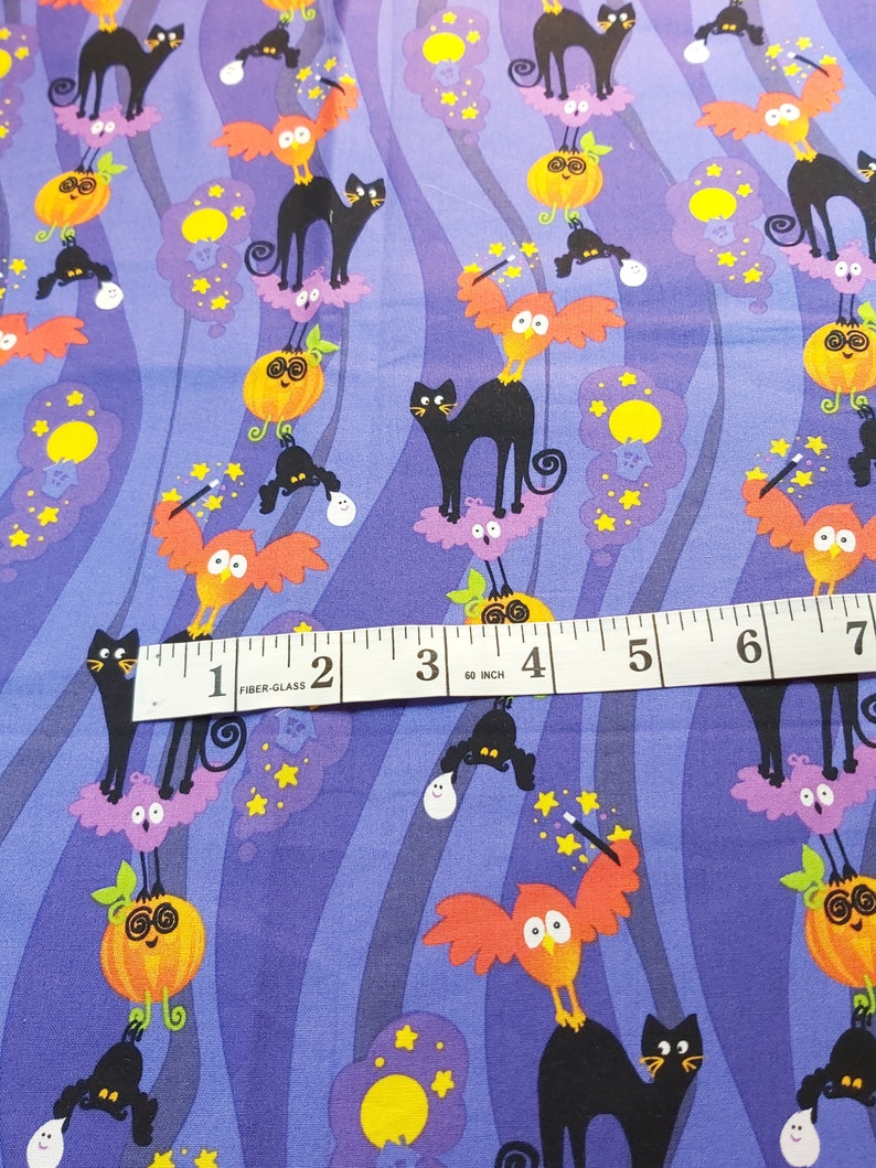 18 x 22 inches and colorful owls moon stars with orange pumkins Dark purple light purple squiggles Cotton fabricmaterial black cats