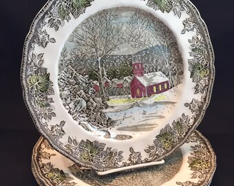 Friendly Village Dinner Plate Made in England Johnson Bros. School House