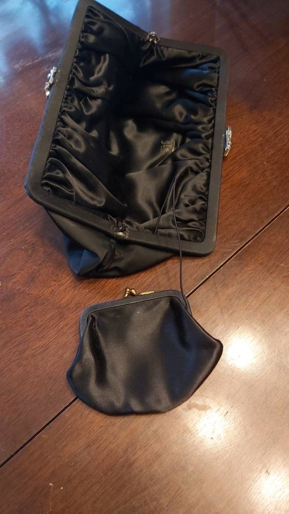 Vintage Black Cloth Purse with Coin Pouch Attached