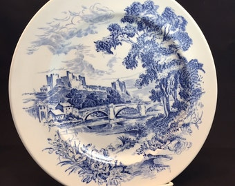 Wedgewood China Country Side  Blue and White Enoch Transferware Dinner Plate Made in England