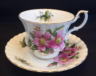 Vintage Royal Albert Bone China Prairie Rose Tea Cup and Saucer England