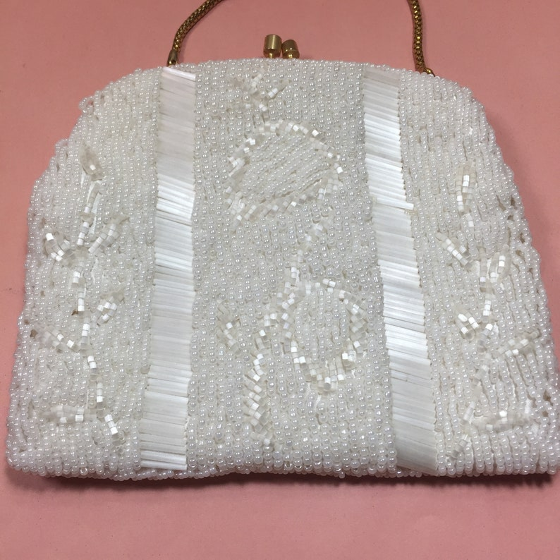 Vintage White Beaded Clutch Made in Hong Kong. Floral design