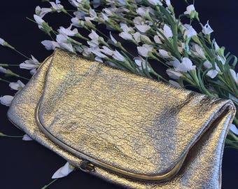 Vintage Ingber Gold Folding Purse. Made in USA.