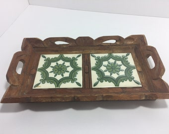 Vintage Wood Tile Tray with Green Pattern