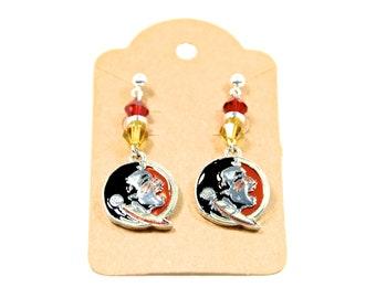 Seminoles earrings   fsu earrings   fsu jewelry   Florida state earrings   Garnet and gold earrings   Dangle earrings   FREE SHIPPING in US