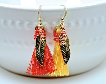 fsu earrings   Florida state tassel earrings   fsu Garnet and gold tassels   girls fsu jewelry   fsu gold feathers   FREE SHIPPING in US