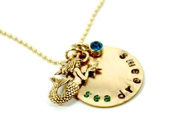 Gold mermaid necklace   Hand stamped necklace   Sea Dreams necklace   Beach jewelry   Ocean necklace   FREE SHIPPING in US