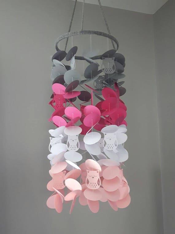 Mobile hibou gris rose. Mobile papier. Chambre bébé. Chambre enfant.  Chambre fille.
