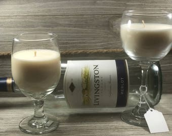 Wine Glass Candles, Homemade Soy Candle, wine lovers,