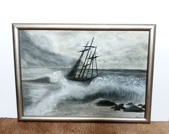 Weathering the storm Charcoal drawing Original Wall decor