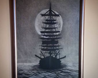 The Pirate Ship Charcoal Drawing Original Framed Wall Decor