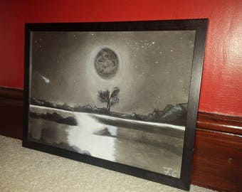 The Comet Charcoal Drawing Original Framed Wall Decor Home Decor