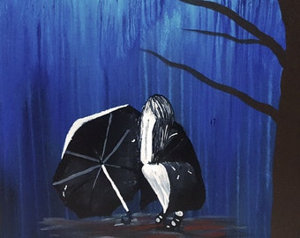 Girl Crying in the Rain canvas painting home decor wall decor