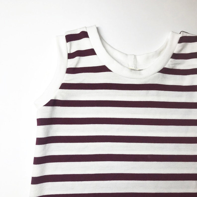 Maroon and White Striped Romper image 0