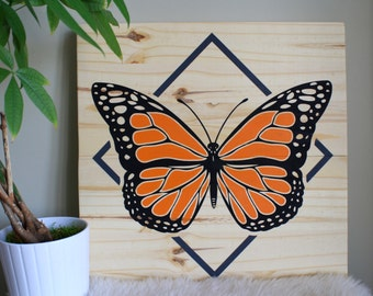 Wood Wall Art, Monarch Butterfly, Monarch Painting, Butterfly Home Décor, Detailed Butterfly, Modern Butterfly, Wall Hanging, Home Décor