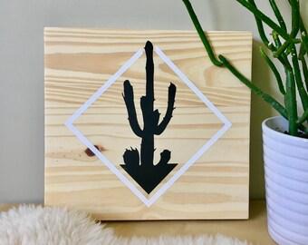 Wood Wall Art, Cactus Painting, Cactus Art, Plant Art, Botanical Art, Desert, Feng Shui, Black Cactus, Cactus Silhouette, Southern Art, Art