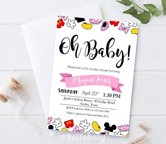 Printable Disney Theme Baby Shower Invitation Cards Disney Baby Shower Disney Baby Shower Invitation Cards Printable Digital File 005
