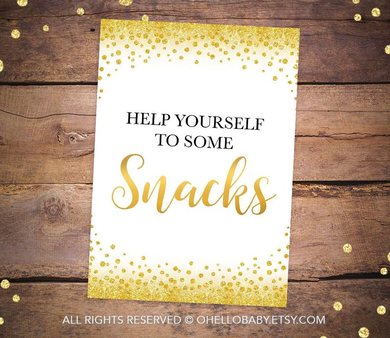picture relating to Printable Treats identified as Printable Snacks Indication - Meals Signs or symptoms - Treats Signs or symptoms - Gold Glitter Get together Desk Indications - Gold Confetti Social gathering Food items Indicators 016