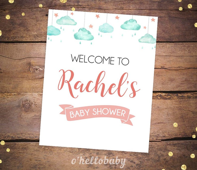 Printable Welcome To Baby Shower Signs Printable Cloud Baby Etsy