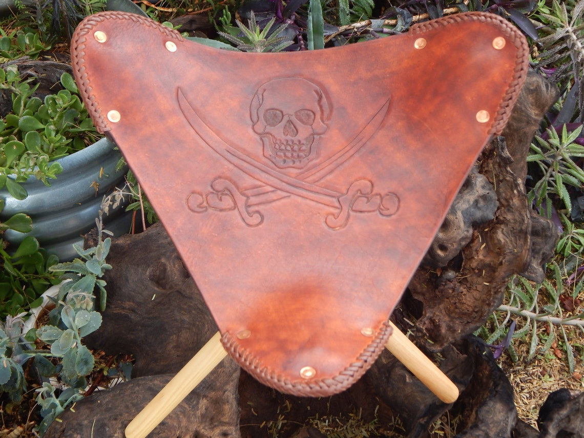 Leather Jolly Roger Tripod Camp Stool