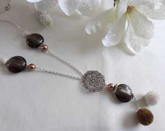 Woman/woman/fantasy necklace brown beige necklace tassel pendant necklace/hand made Brown/gift/Pearl murano