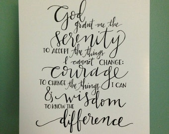 serenity prayer || hand lettered print