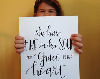 fire & grace || hand-lettered print
