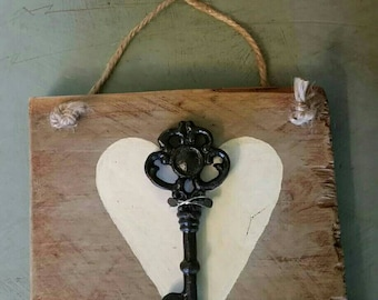 "Rustic Reclaimed Fence Board ""Key to My Heart"""