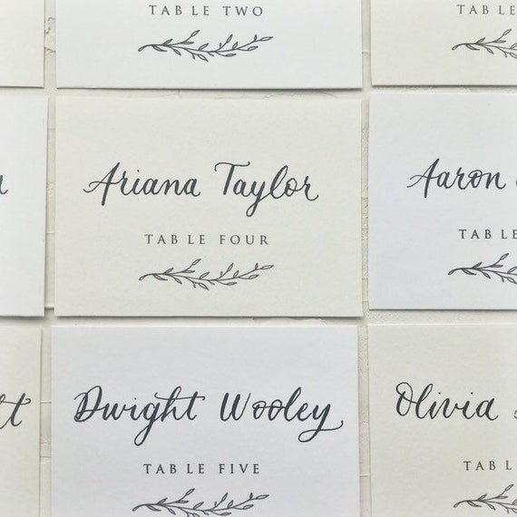 Handwritten custom modern calligraphy placecard with peony flower illustration and hand torn deckled edges wedding escort name place cards