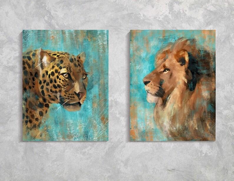 Lion Leopard Print Zestaw Oleju Lion Leopard Zwierzat Etsy