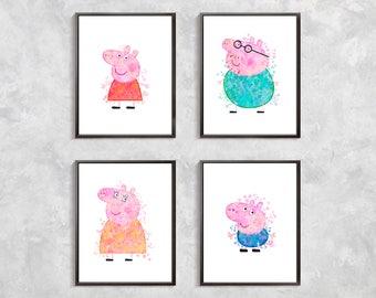 Peppa Pig Print, Peppa Pig Watercolor, Peppa Pig Art, Peppa Pig Birthday Party Decor, Peppa Pig Artwork, Peppa Pig nursery decor