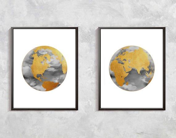 Gold world map print watercolor globe gold decor world clobe etsy image 0 gumiabroncs Images