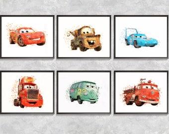 Movie Cars Print, Cars Watercolor, Lightning McQueen Cars Pencil Drawing, Lightning McQueen Poster, Mack Print, Tow Mater, Digital download