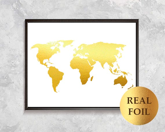 Gold World Map Poster.Gold World Map Print Gold Foil Map Gold Map Poster World Etsy