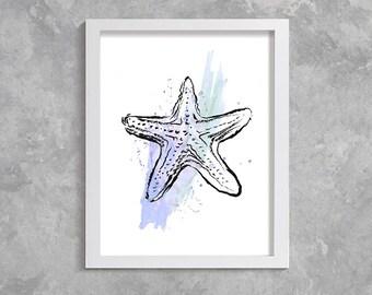 starfish print, starfish watercolor print, starfish art, starfish poster, bathroom decor, starfish printable art, sea print, sea watercolor