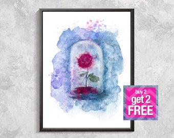 Beauty and Beast Rose Print, Rose Art,  red rose Watercolor, Beauty and Beast Wall decor, rose print, Flower poster, digital download