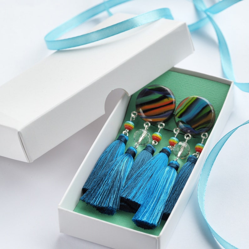 Blue party earrings with triple tassels vivid rainbow cabochons  made of polymer clay and rainbow beadsGorgeous party earringGift for her
