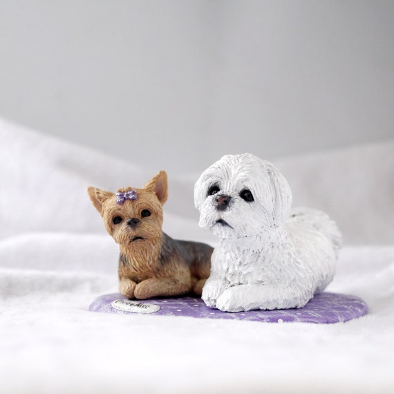 Custom Dog Figurines Made In Polymer Clay Maltese Yorkie Miniature Figurine Of Your Dog By Vell Vett