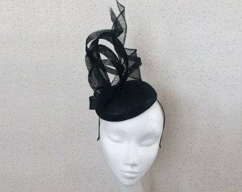 Black Fascinator Wedding Hat Black PillBox Hat Black Hatinator Black Headpiece Winter Wedding Goodwood Races Ascot Ladies Day