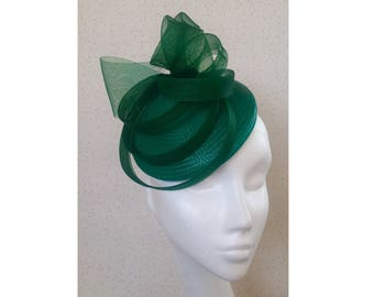 Emerald Green Fascinator Headpiece Wedding Races Hatinator Hat Dark Green d852e02135b