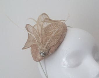 Champagne Fascinator Nude Wedding Fascinator Lace Headpiece Leaf and Feather Hatinator Headband Ladies Day Races