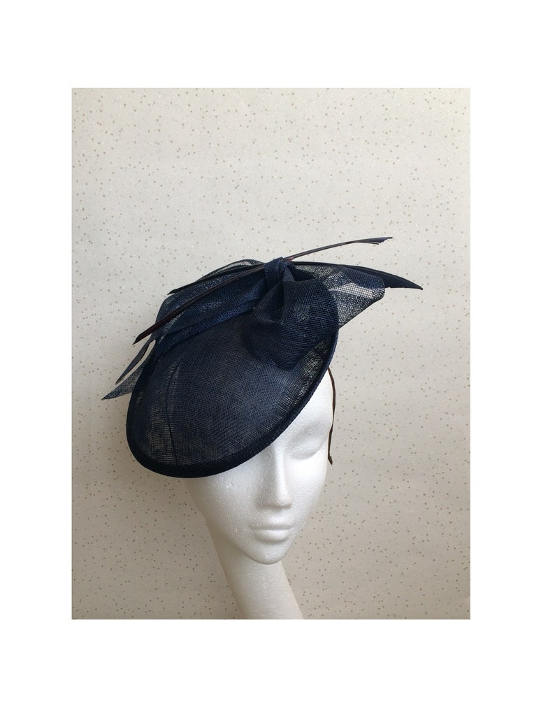 e2803840a2ac0 Navy Blue Disc Fascinator Blue Wedding Hat Goodwood Navy Round