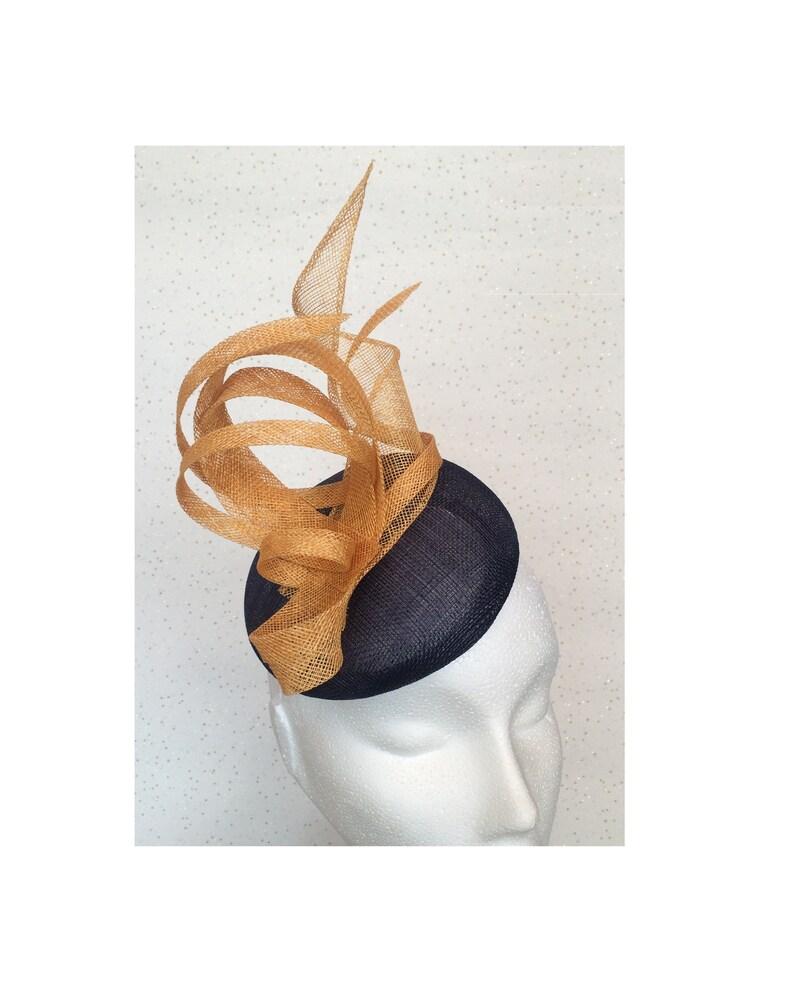 82faec86bd3d8 Navy Ochre Gold Yellow Fascinator Hatinator Headpiece Wedding
