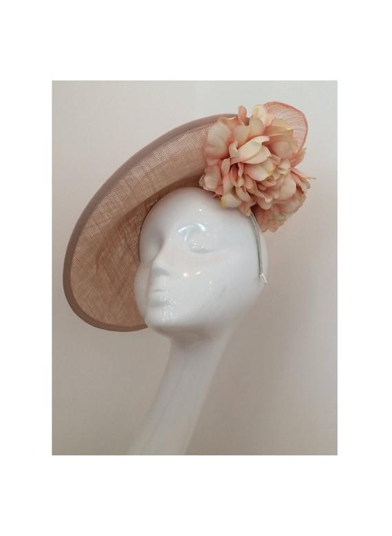 Blush Pink Wedding Hat Nude Pink Headpiece Fascinator Winter  6f7f70c559a