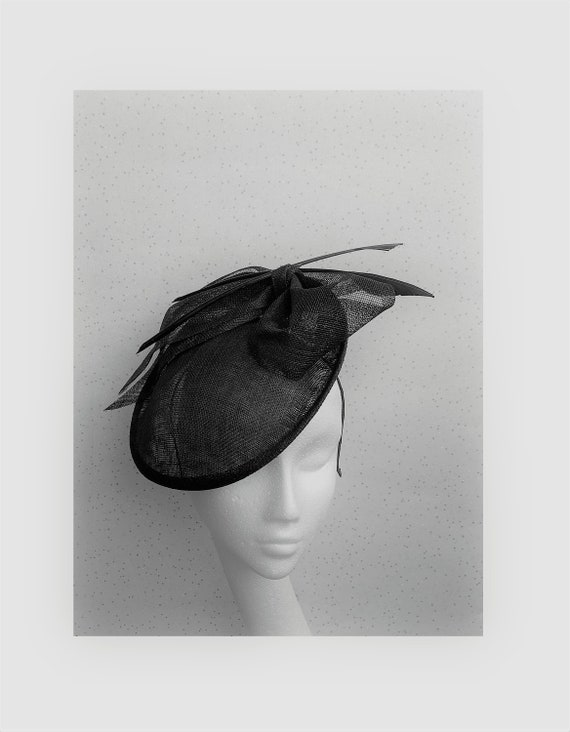 Black Disc Fascinator Black Wedding Hat Goodwood Black Round  d088788c057