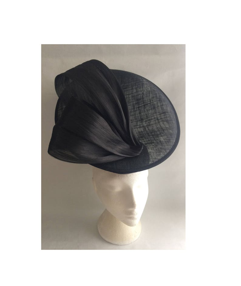 New Black Sinamay Bow Hatinator.hat.Large saucer disc Wedding.races.ascot .