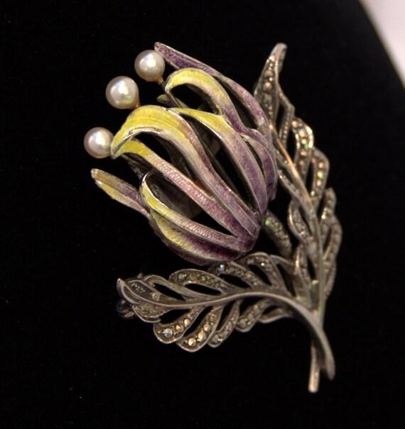 Art Nouveau brooch enamel beautiful Silver Pearl b