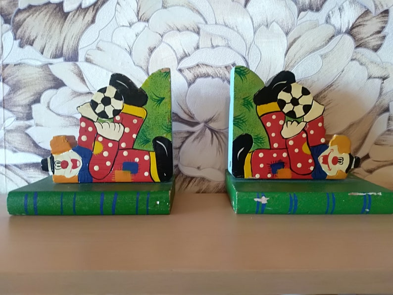 old Russian school supplies retro wooden book holder shabby bookend kids textbook stand,Pair of clown Wooden Bookend Vintage Book Stand